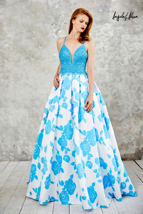 771111 (turquoise + floral) gown from the 2017 Angela & Alison Prom collection, as seen on dressfinder.ca