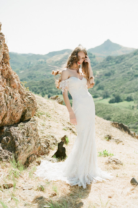 Bordeaux gown from the 2018 Claire Pettibone : Romantique collection, as seen on dressfinder.ca