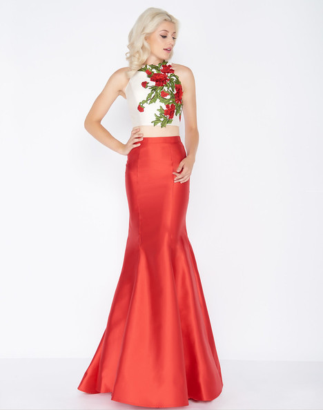 77408A (Red + Cream) gown from the 2018 Cassandra Stone collection, as seen on dressfinder.ca