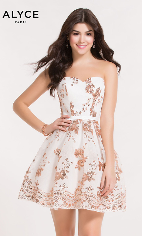 2650 White Rose Gold Prom Dress By Alyce Paris Semi Formal The Dressfinder The Us Canada